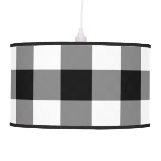 Black and White Gingham Pattern Hanging Lamp