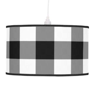 Black and White Gingham Pattern Hanging Lamp