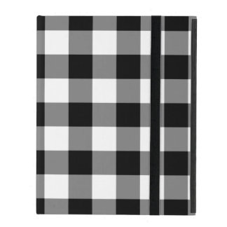 Black and White Gingham Pattern iPad Cover