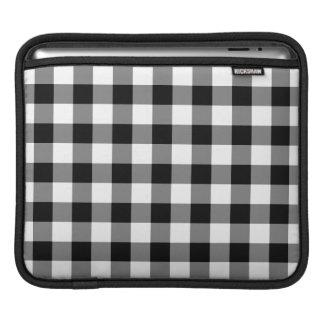 Black and White Gingham Pattern iPad Sleeve