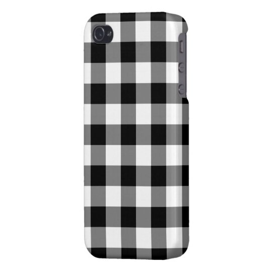 Black and White Gingham Pattern iPhone 4 Case