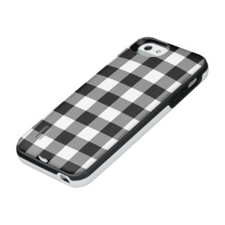 Black and White Gingham Pattern iPhone SE/5/5s Battery Case