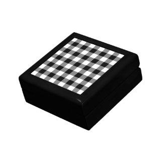 Black and White Gingham Pattern Jewelry Box