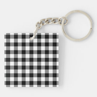 Black and White Gingham Pattern Double-Sided Square Acrylic Keychain