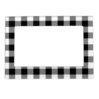 Black and White Gingham Pattern Magnetic Photo Frame