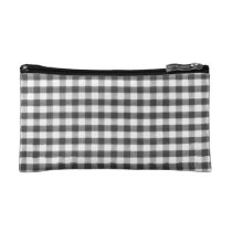 Black and white gingham pattern makeup bag