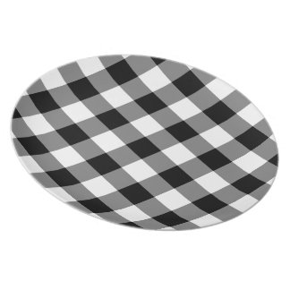 Black and White Gingham Pattern Melamine Plate