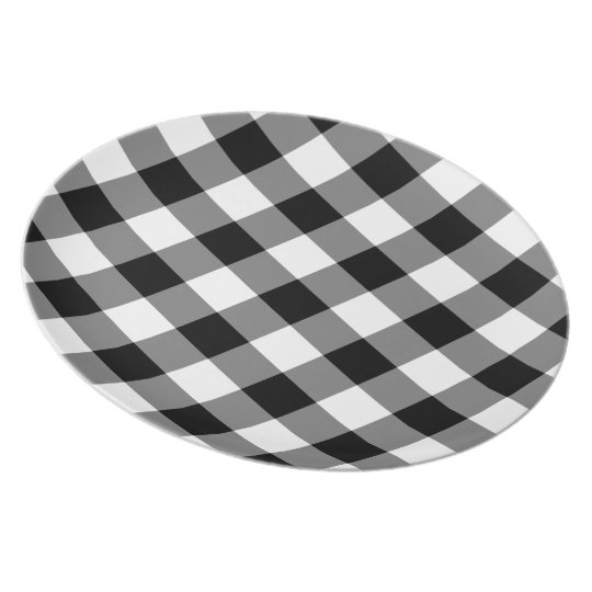 Black and White Gingham Pattern Melamine Plate