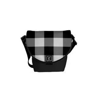 Black and White Gingham Pattern Messenger Bag