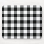 Black and White Gingham Pattern Mouse Pad