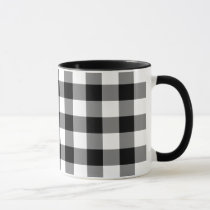 Black and White Gingham Pattern Mug