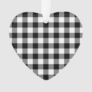 Black and White Gingham Pattern Ornament