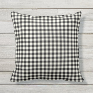 Black And White Gingham Pattern Outdoor Pillows at Zazzle