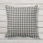 "Black and White Gingham Pattern Outdoor Pillows<br><div class=""desc"">Black and White buffalo check or gingham pattern pillow for outdoors. Made in the USA. High quality twill pattern print. UV and mildew resistant garden or patio pillows in with modern designs in bright summer colors. Available in 16 or 20 inch square and 13 by 21 rectangular sizes. Insert included....</div>"