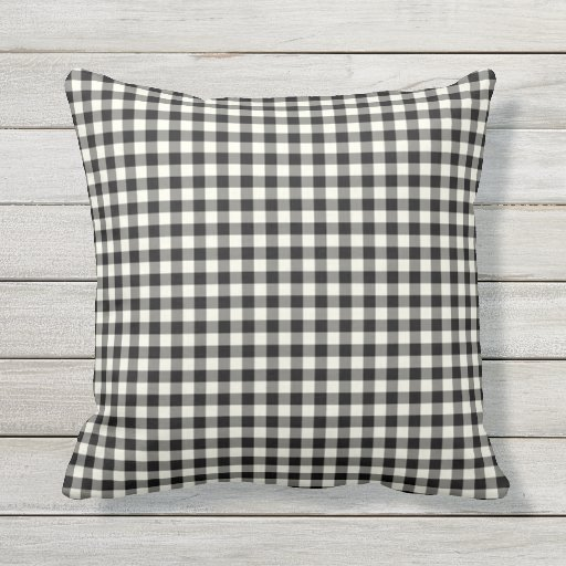 Black and White Gingham Pattern Outdoor Pillows