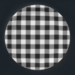 "Black and White Gingham Pattern Paper Plates<br><div class=""desc"">Black, white, and grey squares form a bold, checked plaid. The black and white gingham pattern was created from scratch. The white is transparent, so you can change it if you like. Just click the &quot;Customize it&quot; button, then select a ""Printed Background Color"" in the sidebar. When you&#39;re done, click...</div>"