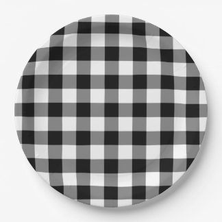 Black and White Gingham Pattern Paper Plates
