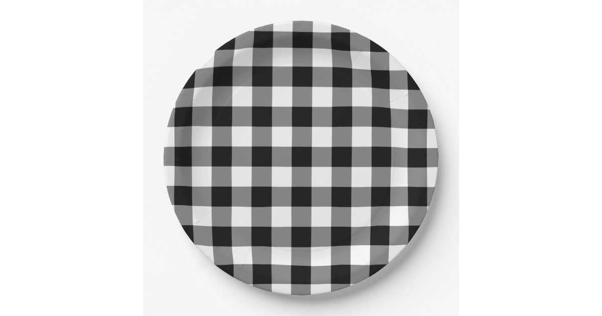 Black And White Gingham Pattern Paper Plates Zazzle