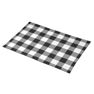 Black and White Gingham Pattern Place Mat