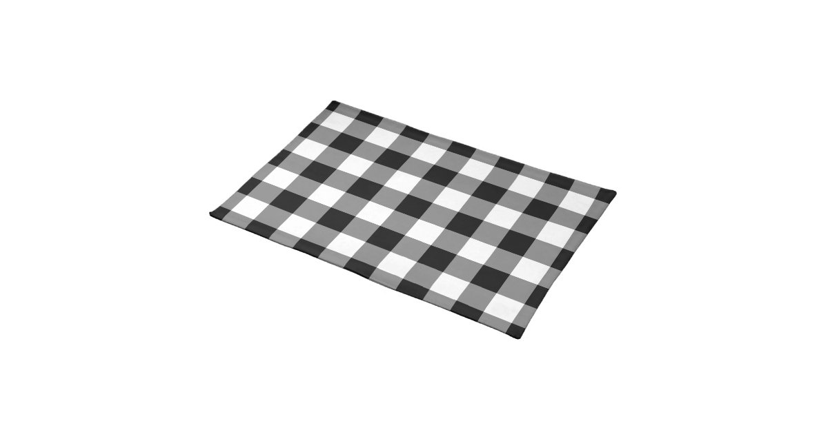 black and white gingham pattern placemat. Black Bedroom Furniture Sets. Home Design Ideas