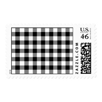 Black and White Gingham Pattern Postage Stamps
