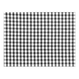 Black and white gingham pattern postcard