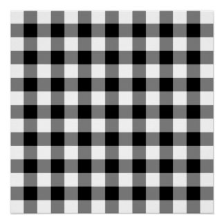 Black and White Gingham Pattern Poster
