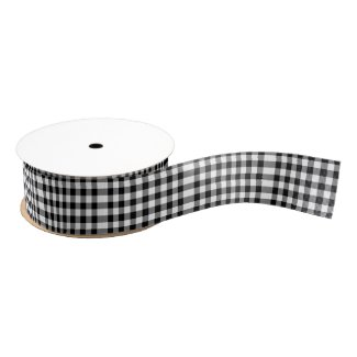 Black and White Gingham Pattern Ribbon Satin Ribbon