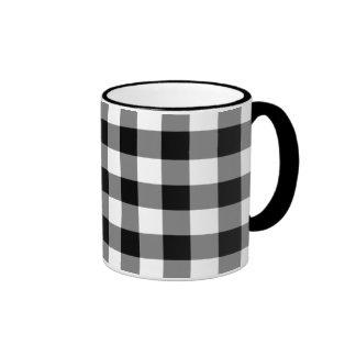Black and White Gingham Pattern Ringer Coffee Mug