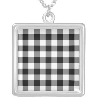 Black and White Gingham Pattern Silver Plated Necklace