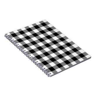 Black and White Gingham Pattern Spiral Note Books