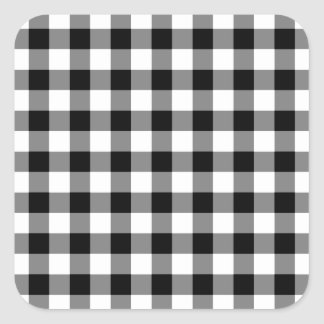 Black and White Gingham Pattern Square Sticker