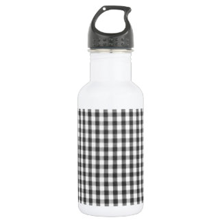 Black and white gingham pattern stainless steel water bottle