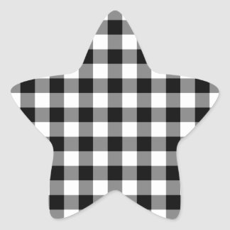 Black and White Gingham Pattern Star Stickers