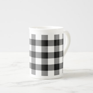 Black and White Gingham Pattern Tea Cup