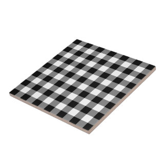 Black and White Gingham Pattern Tile