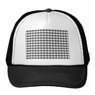 Black and white gingham pattern trucker hat