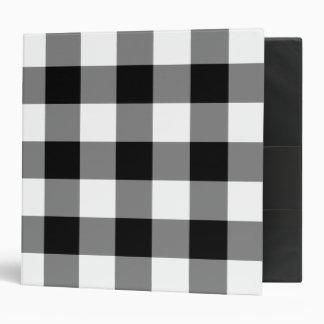 Black and White Gingham Pattern Vinyl Binders