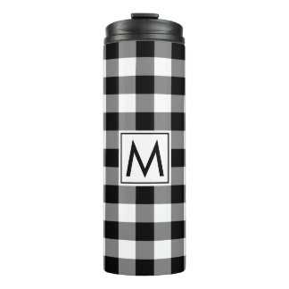Black and White Gingham Pattern with Monogram Thermal Tumbler