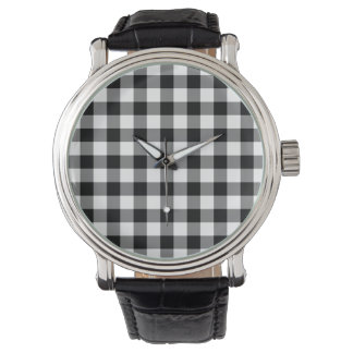 Black and White Gingham Pattern Wristwatch