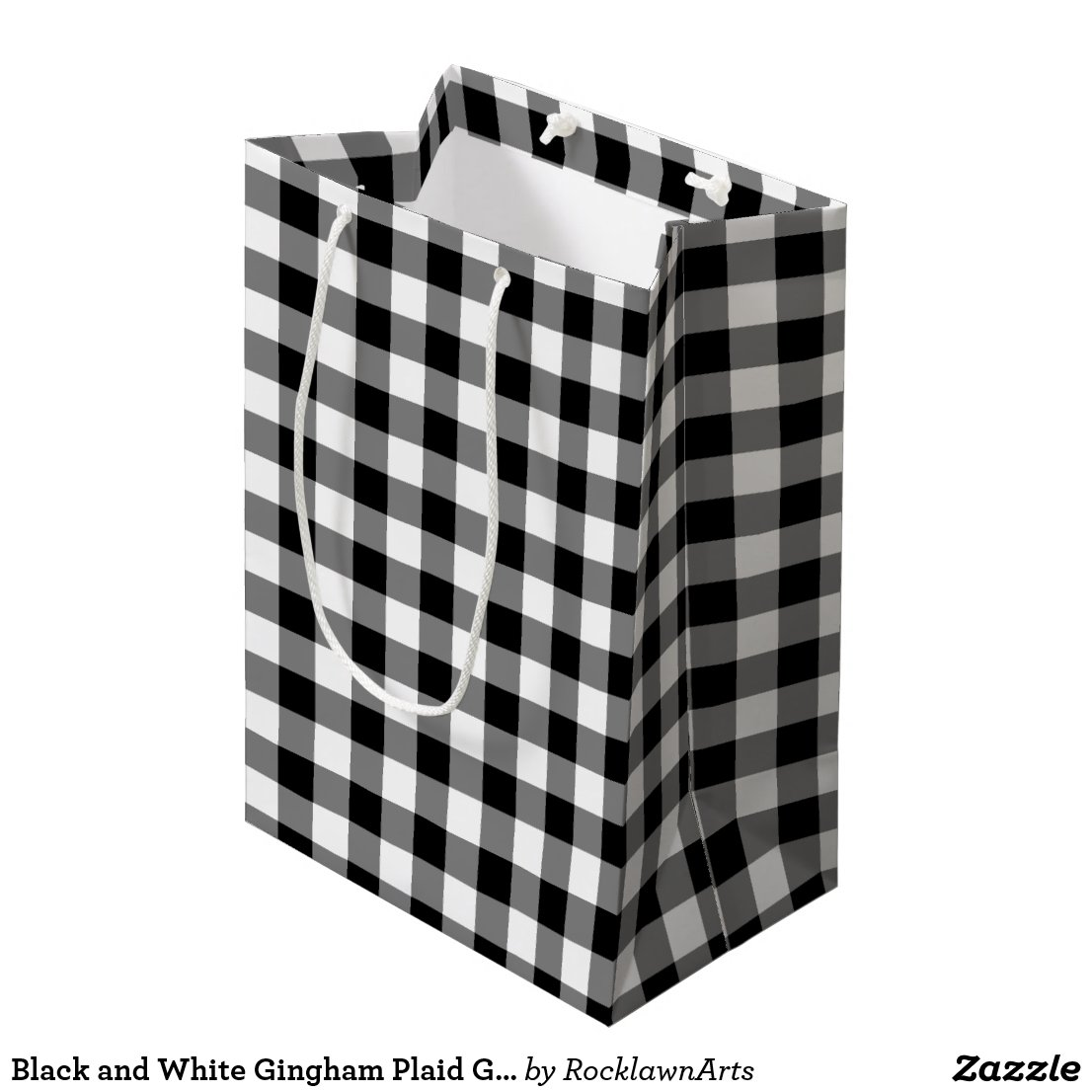 Black and White Gingham Plaid Gift Bag