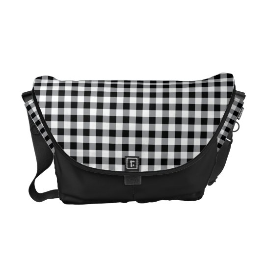 Black and white Gingham (plaid) messenger bag
