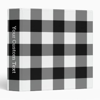 Black and White Gingham Plaid Pattern Custom Title 3 Ring Binder