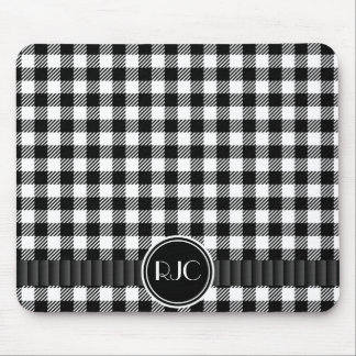 Black And White Gingham Plaid Pattern Personalized Mouse Pad