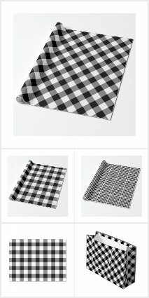 Black and White Gingham Plaid Wrapping Supplies