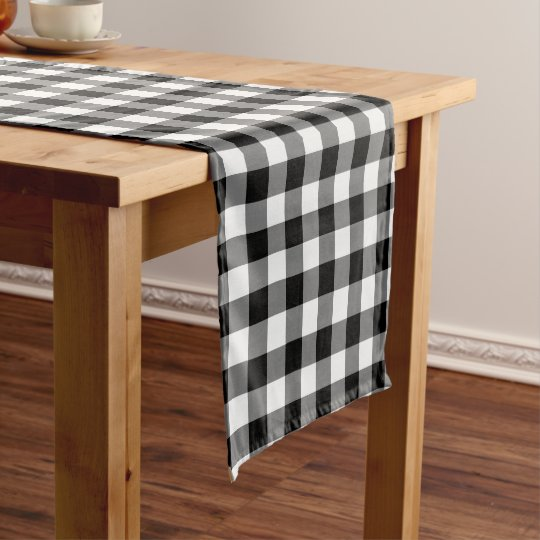 Black And White Gingham Table Runner