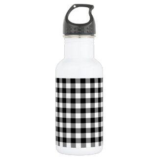 Black and White Gingham Water Bottle