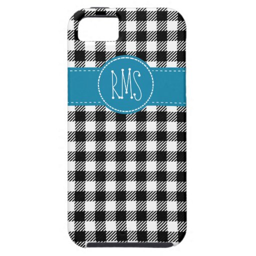 Black and White Gingham with Blue Accents iPhone 5 Case