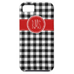 Black and White Gingham with Red Accents iPhone 5 Cases