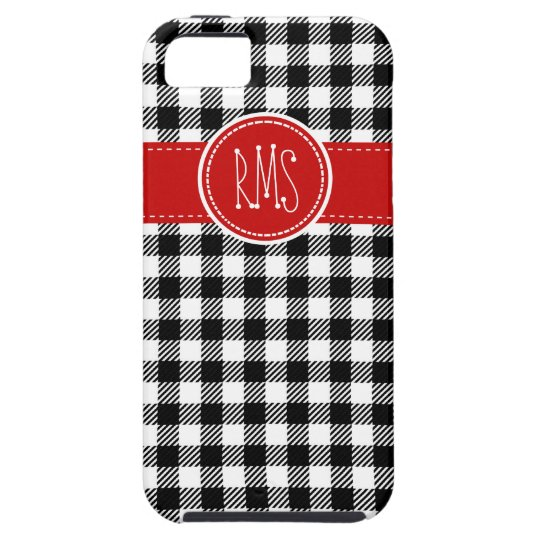 Black and White Gingham with Red Accents iPhone SE/5/5s Case